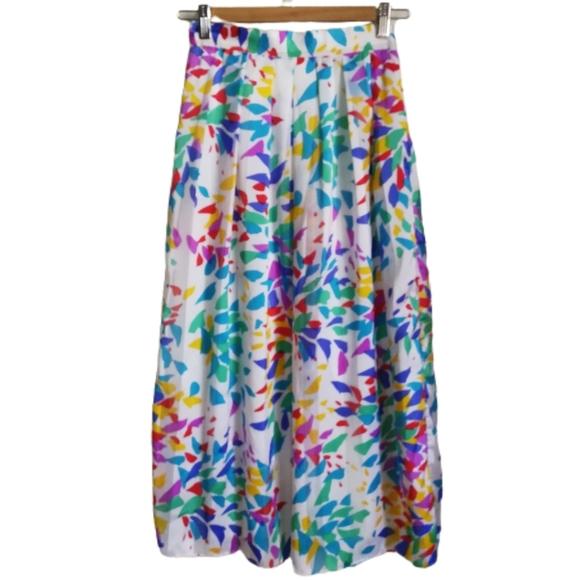 VINTAGE 80s Hand-Made Geometric Multicolored Skirt